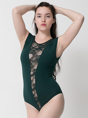 Cotton Spandex Jersey Lace Gloria-V Bodysuit