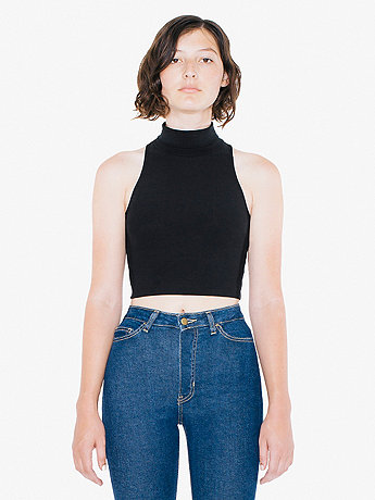 Cotton Spandex Sleeveless Turtleneck Crop Top