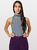 Stripe Cotton Spandex Jersey Sleeveless Turtleneck Crop Top