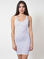 Polka Dot Cotton Spandex Jersey Scoop Back Tank Dress