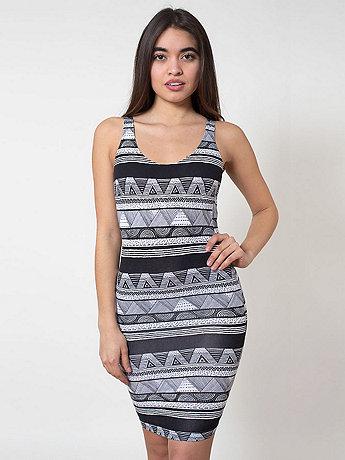 Afrika Print Cotton Spandex Jersey Scoop Back Tank Dress