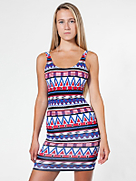 Printed Cotton Spandex Jersey Scoop Back Tank Dress
