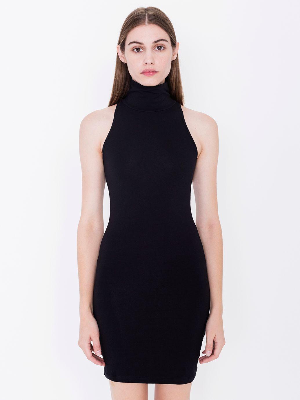 Cotton Spandex Jersey Sleeveless Turtleneck Dress