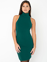Cotton Spandex Jersey Sleeveless Turtleneck Dress