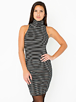 Stripe Cotton Spandex Jersey Sleeveless Turtleneck Dress