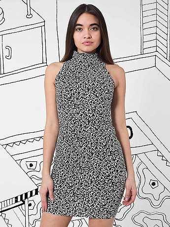 Nathalie Du Pasquier Cotton Spandex Jersey Sleeveless Turtleneck Dress
