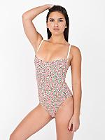 Floral Print Cotton Spandex Jersey Bra Bodysuit