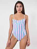 Striped Cotton Spandex Jersey Bra Bodysuit