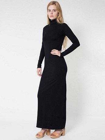 Cotton Spandex Jersey Long Sleeve Turtleneck Maxi Dress