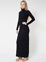 Cotton Spandex Jersey Long Sleeve Turtleneck Maxi Dress