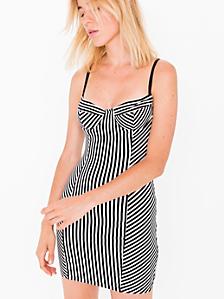 Striped Cotton Spandex Jersey Underwire Bustier Dress