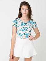 Floral Print Cotton Spandex Jersey Crop Tee