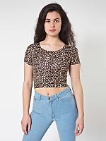Leopard Print Cotton Spandex Jersey Crop Tee