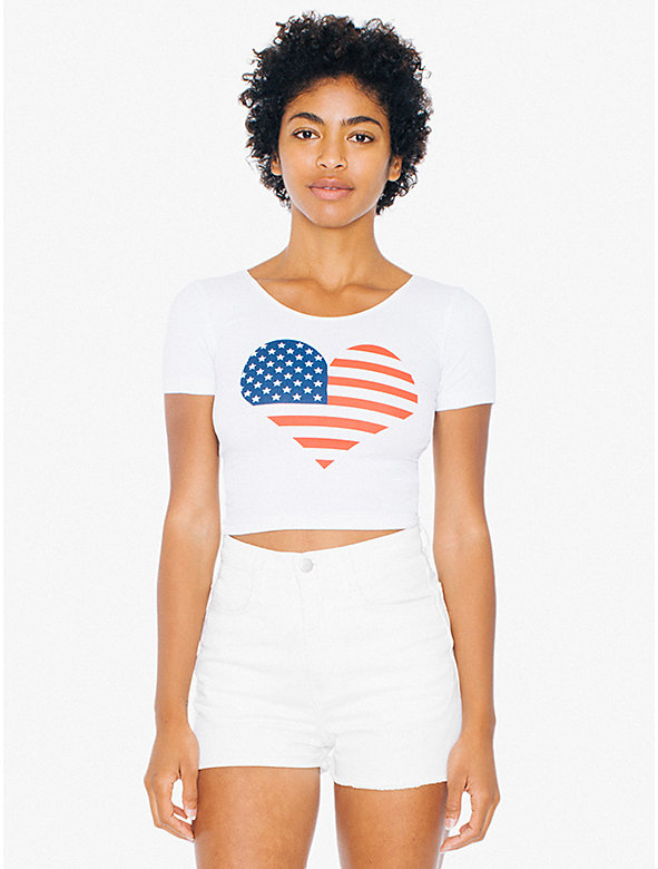 US Flag Heart Cotton Spandex Crop T-Shirt