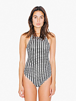 Houndstooth Print Cotton Spandex Sleeveless Thong Bodysuit