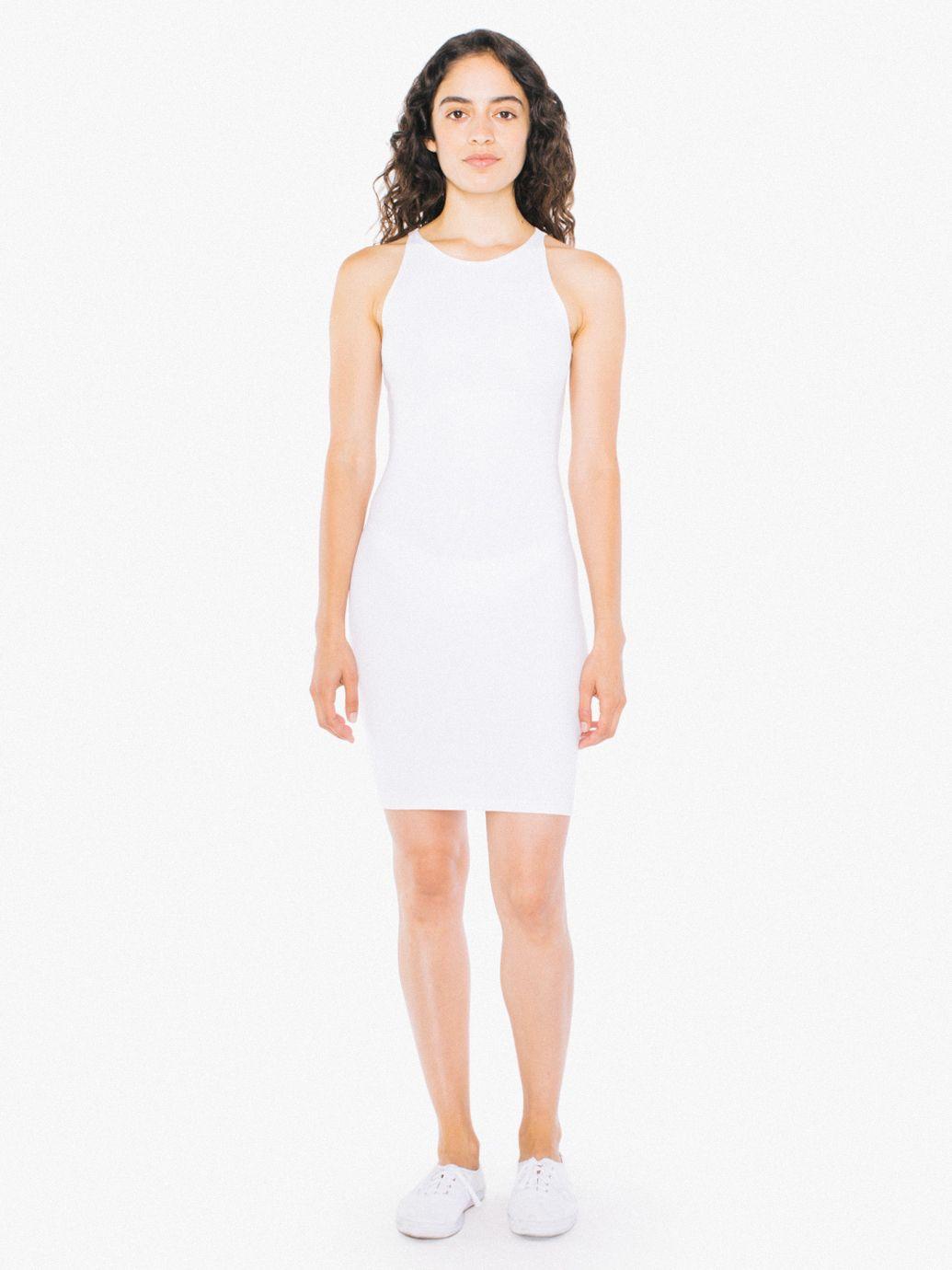 Stretch Cotton Tank White Mini Dress