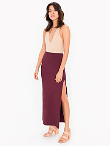 Cotton Spandex Slit Maxi Skirt