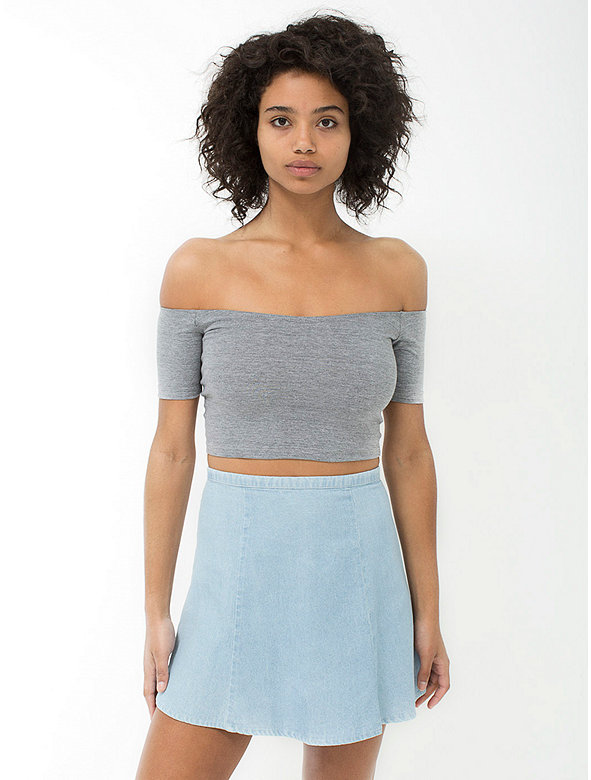 Cotton Spandex Off-Shoulder Top