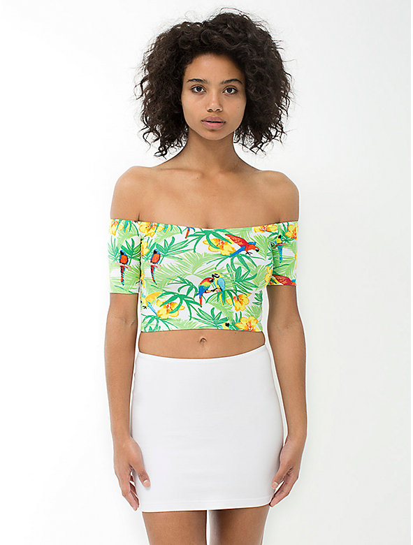 Print Cotton Spandex Off-Shoulder Top