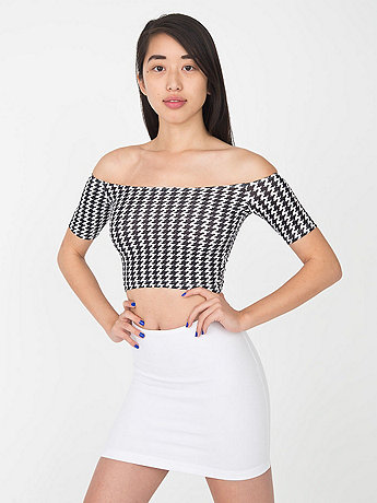 Houndstooth Print Cotton Spandex Off Shoulder Top