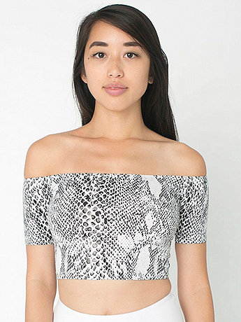 Python Print Cotton Spandex Off Shoulder Top