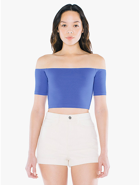 Cotton Spandex Off-Shoulder Top