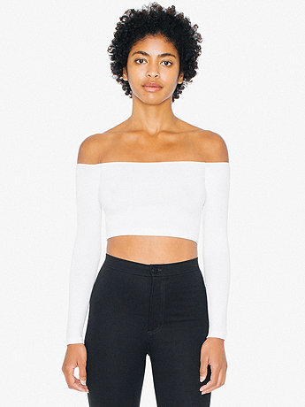 Cotton Spandex Long Sleeve Off-Shoulder Top