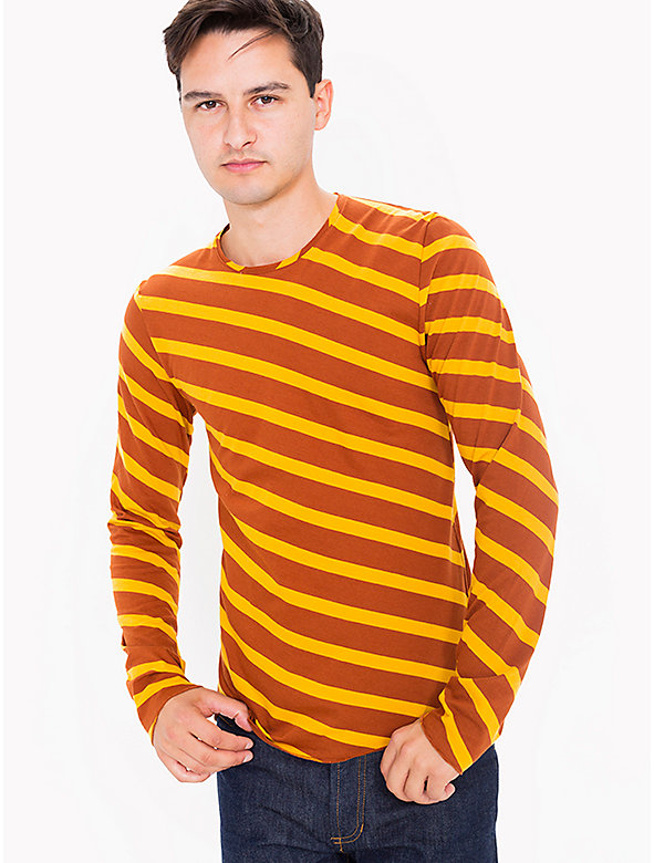 Bias Striped Rolledge L/S Tee Shirt