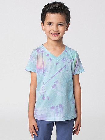 Kids' Printed Poly Cotton Short Sleeve V-Neck