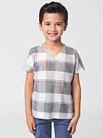 Kids' Printed Poly Cotton Short Sleeve V-Neck