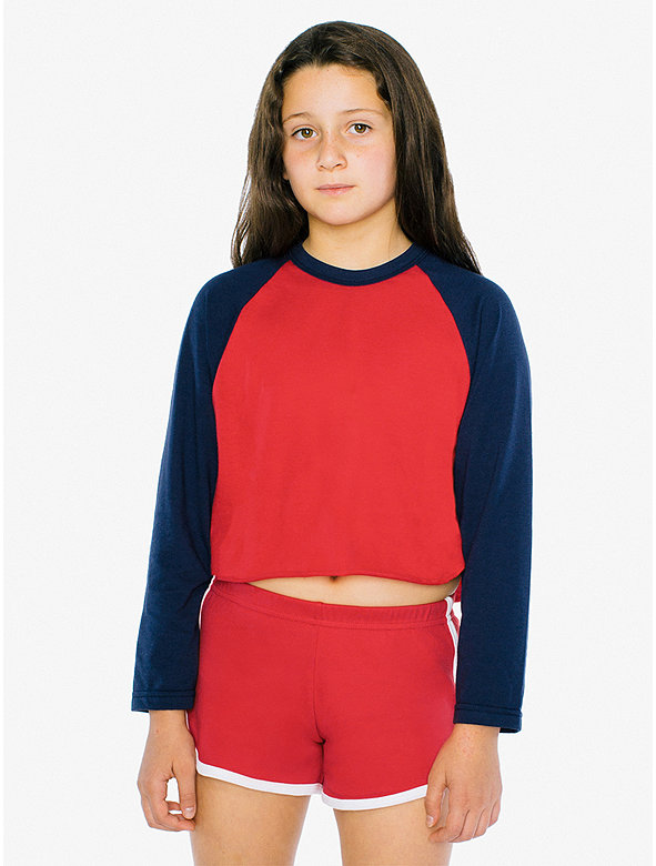 Kids' 50/50 Cropped 3/4 Sleeve Raglan