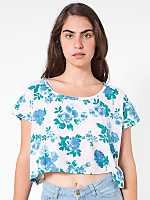 Floral Printed Loose Crop Tee