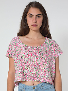 Printed Loose Crop Tee