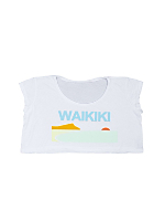 Screen Printed Loose Crop Top - Waikiki