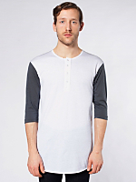 Poly-Cotton 3/4 Sleeve Baseball Placket T