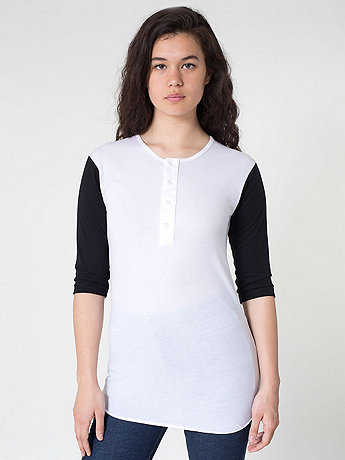 Unisex Poly-Cotton 3/4 Sleeve Baseball Placket T
