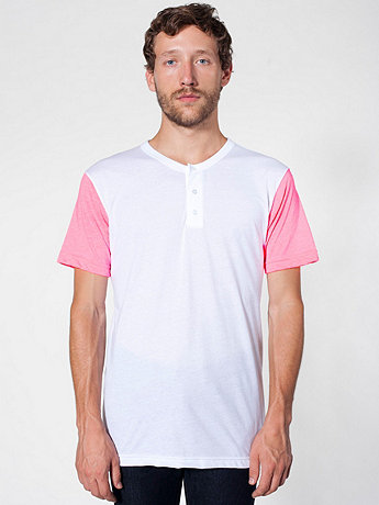 Poly-Cotton Short Sleeve Henley