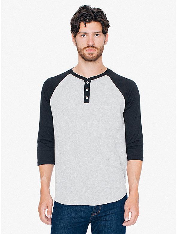50/50 Raglan Henley 3/4 Sleeve T-Shirt