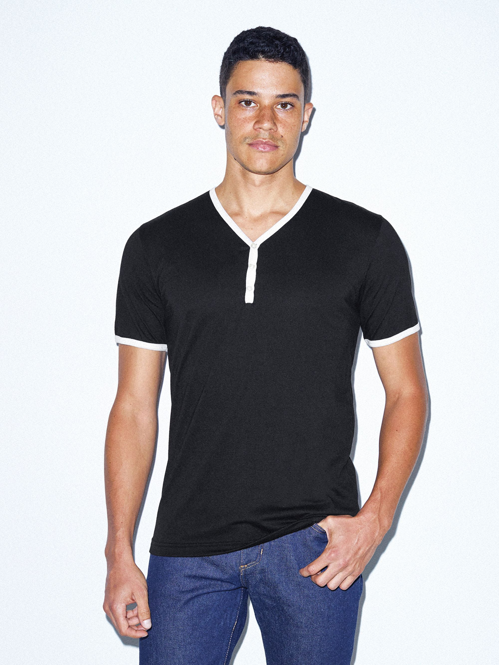 50/50 Henley Ringer V Neck T Shirt by American Apparel