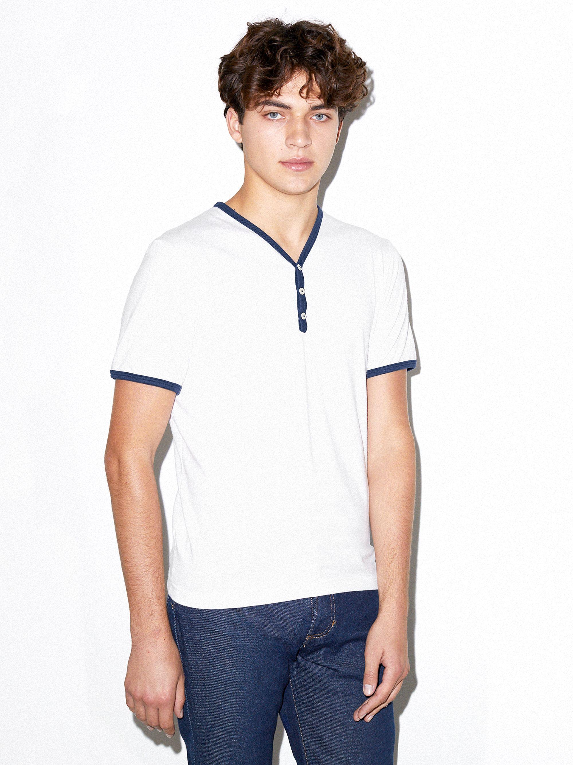 50/50 Henley Ringer V-Neck T-Shirt | Tuggl
