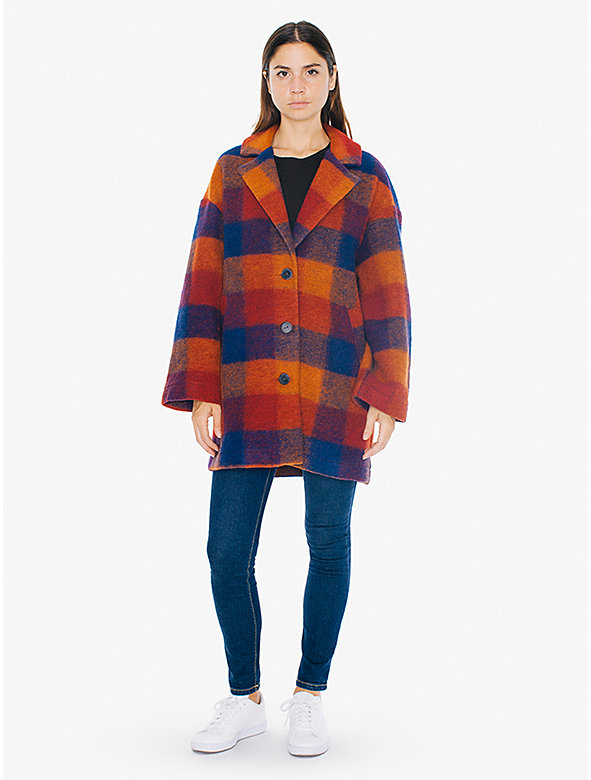 Plaid Wool Top Coat