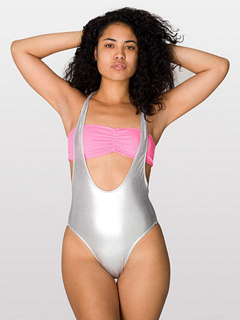 Shiny Suspender Swimsuit