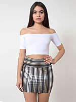 Striped Shiny Late Night Mini Skirt