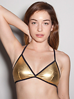 Shiny Cross-Back Bra