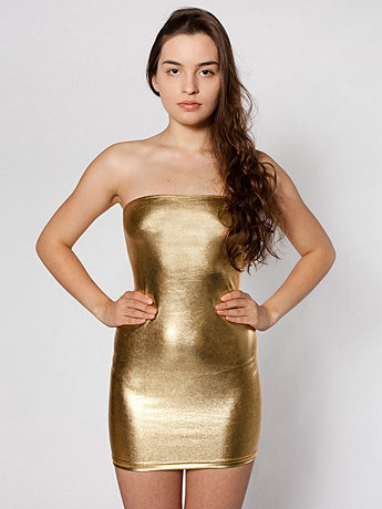 Shiny Too-Short Tube Dress
