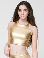 Shiny Sleeveless Crop Top