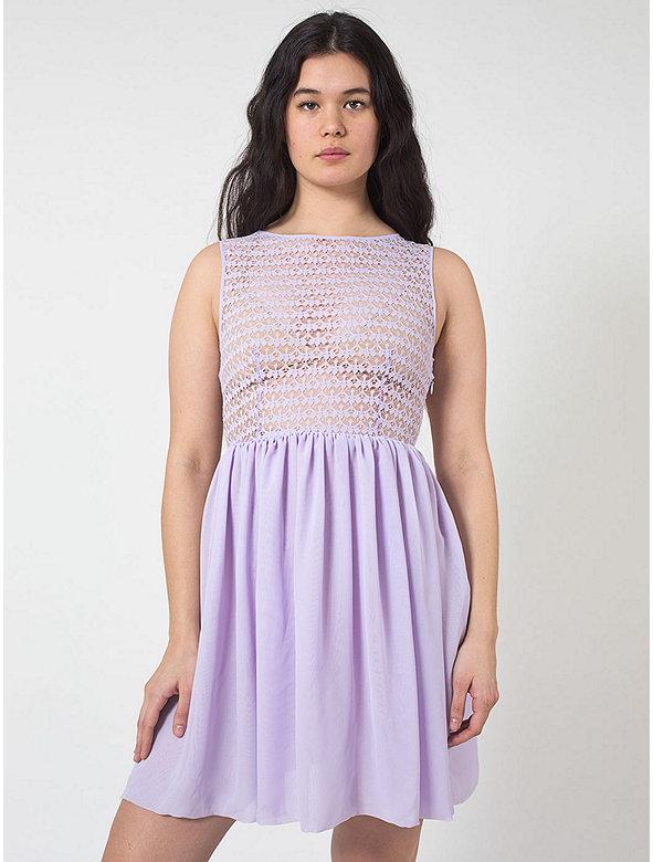 Sleeveless Lace Chiffon Dress