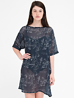 Illustrated Chiffon T-Shirt Dress