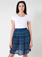Plaid Chiffon Pleated Skirt