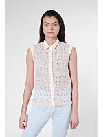 Polka Dot Wedge Shoulder Chiffon Blouse